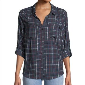 NWT JOIE Cartel Checkered ButtonFront TOP SIZE L